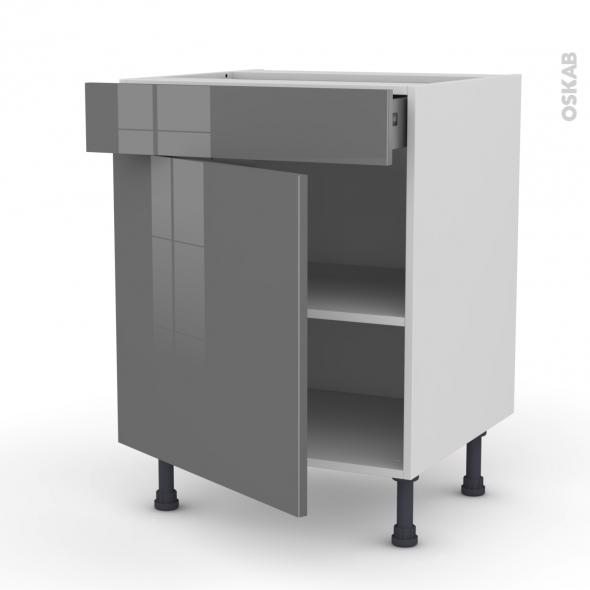 Meuble de cuisine - Bas - STECIA Gris - 1 porte 1 tiroir - L60 x H70 x P58 cm