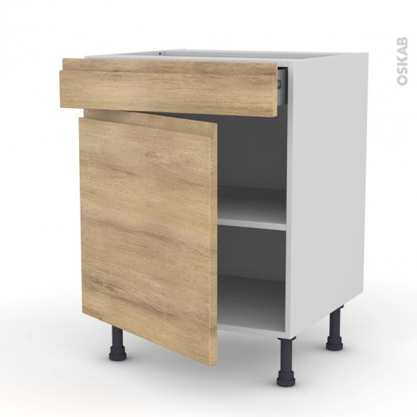 Meuble de cuisine - Bas - IPOMA Chêne naturel - 1 porte 1 tiroir - L60 x H70 x P58 cm
