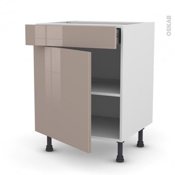 Meuble de cuisine - Bas - KERIA Moka - 1 porte 1 tiroir - L60 x H70 x P58 cm