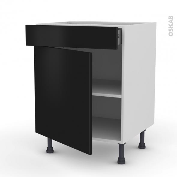 Meuble de cuisine - Bas - GINKO Noir - 1 porte 1 tiroir - L60 x H70 x P58 cm