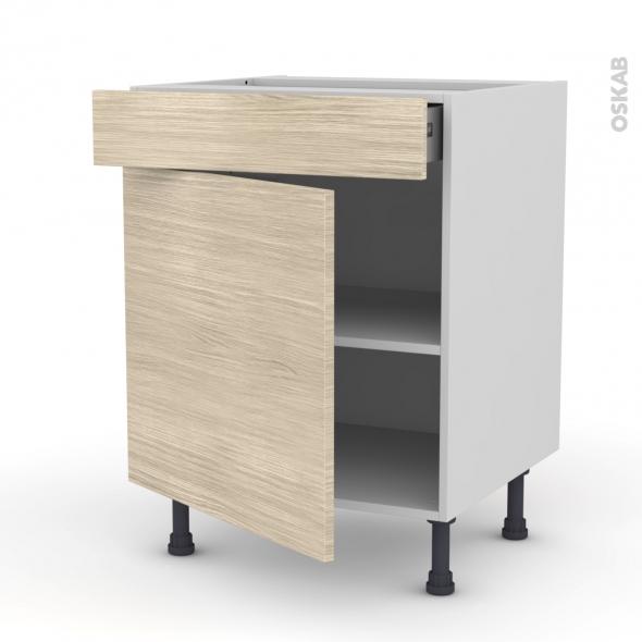Meuble de cuisine - Bas - STILO Noyer Blanchi - 1 porte 1 tiroir - L60 x H70 x P58 cm