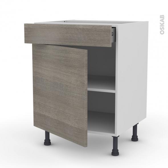 STILO Noyer Naturel - Meuble bas cuisine  - 1 porte 1 tiroir - L60xH70xP58