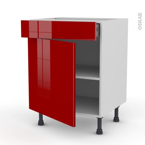 Meuble de cuisine - Bas - STECIA Rouge - 1 porte 1 tiroir - L60 x H70 x P58 cm