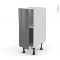 Meuble de cuisine - Bas - STECIA Gris - 1 porte - L30 x H70 x P58 cm