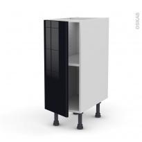 Meuble de cuisine - Bas - KERIA Noir - 1 porte - L30 x H70 x P58 cm