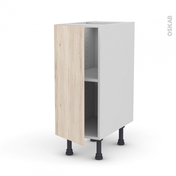 Meuble de cuisine - Bas - IKORO Chêne clair - 1 porte - L30 x H70 x P58 cm