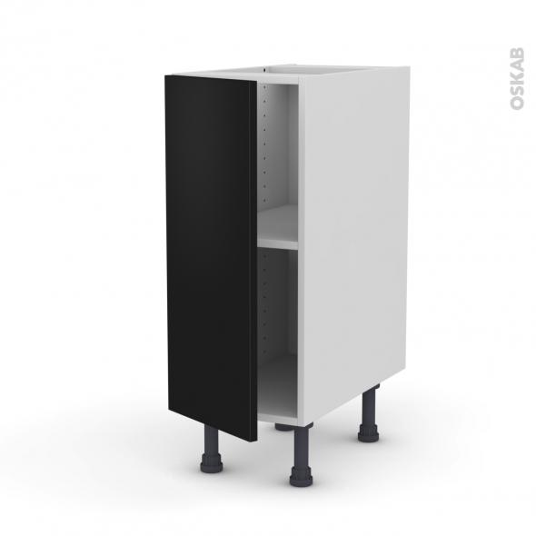 Meuble de cuisine - Bas - GINKO Noir - 1 porte - L30 x H70 x P58 cm