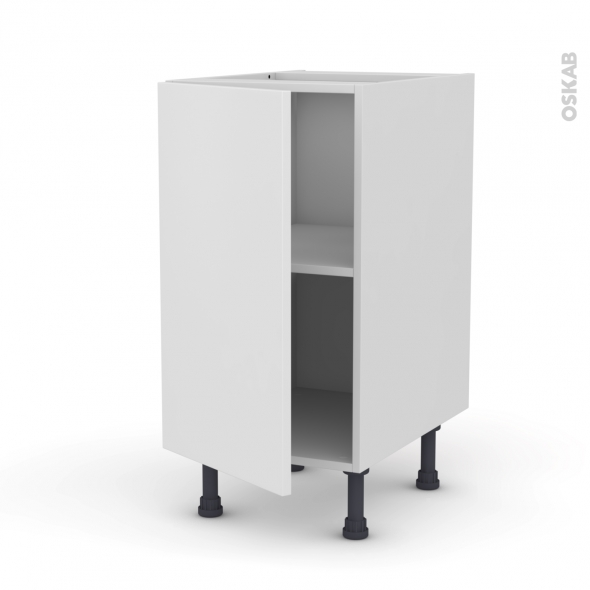 Meuble de cuisine - Bas - GINKO Blanc - 1 porte - L40 x H70 x P58 cm