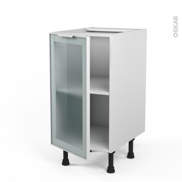 SOKLEO - Meuble bas cuisine  - Façade blanche alu vitrée - 1 porte - L40xH70xP58