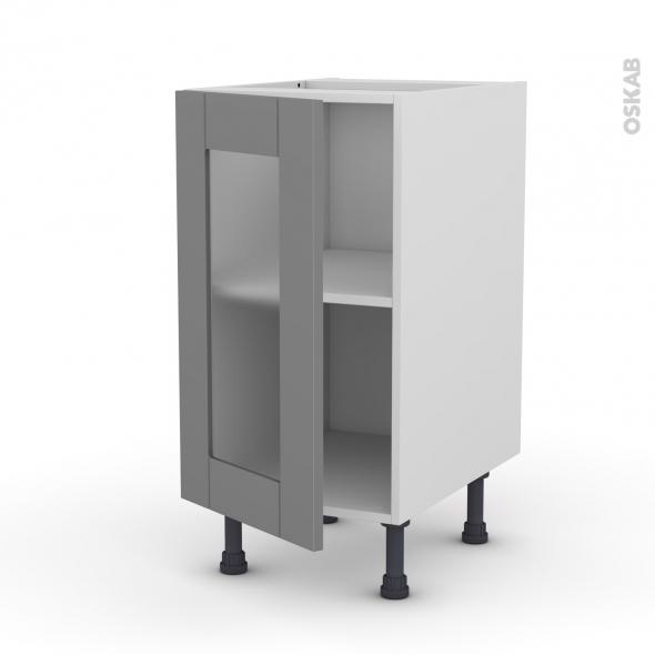 Meuble de cuisine - Bas vitré - FILIPEN Gris - 1 porte - L40 x H70 x P58 cm