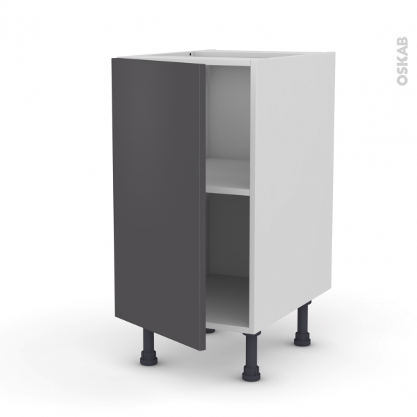 Meuble de cuisine - Bas - GINKO Gris - 1 porte - L40 x H70 x P58 cm