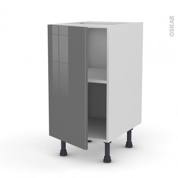 Meuble de cuisine - Bas - STECIA Gris - 1 porte - L40 x H70 x P58 cm