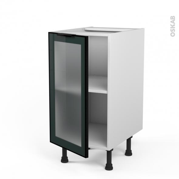 SOKLEO - Meuble bas cuisine  - Façade noire alu vitrée - 1 porte - L40xH70xP58