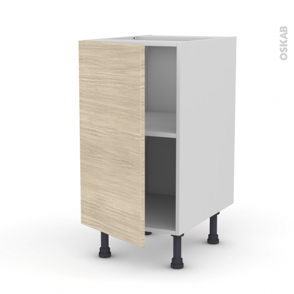 Meuble de cuisine - Bas - STILO Noyer Blanchi - 1 porte - L40 x H70 x P58 cm