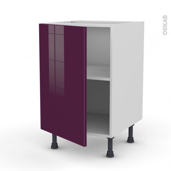 Meuble de cuisine - Bas - KERIA Aubergine - 1 porte - L50 x H70 x P58 cm