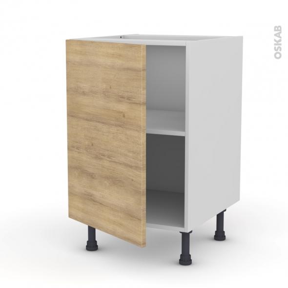 Meuble de cuisine - Bas - HOSTA Chêne naturel - 1 porte - L50 x H70 x P58 cm