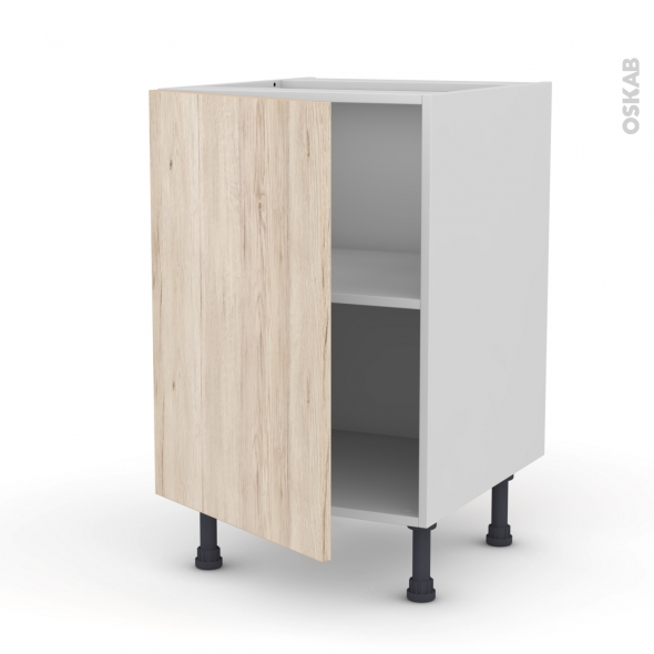 Meuble de cuisine - Bas - IKORO Chêne clair - 1 porte - L50 x H70 x P58 cm