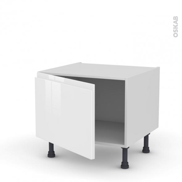 Meuble de cuisine - Bas - IPOMA Blanc brillant - 1 porte - L60 x H41 x P58 cm