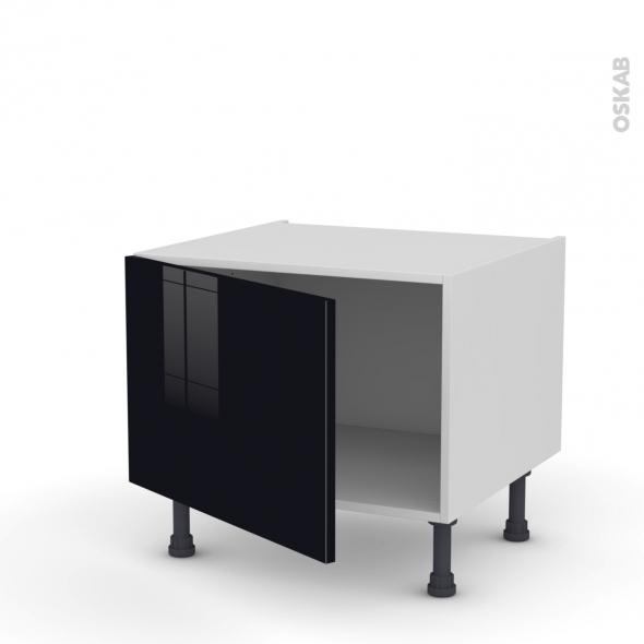 Meuble de cuisine - Bas - KERIA Noir - 1 porte - L60 x H41 x P58 cm