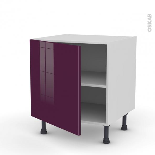 Meuble de cuisine - Bas - KERIA Aubergine - 1 porte - L60 x H57 x P58 cm