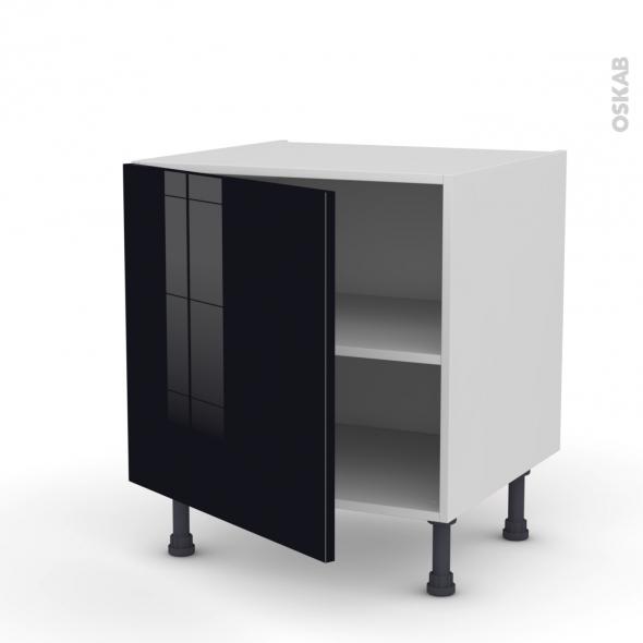 Meuble de cuisine - Bas - KERIA Noir - 1 porte - L60 x H57 x P58 cm
