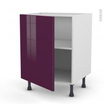 Meuble de cuisine - Bas - KERIA Aubergine - 1 porte - L60 x H70 x P58 cm