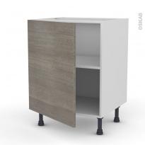 Meuble de cuisine - Bas - STILO Noyer Naturel - 1 porte - L60 x H70 x P58 cm