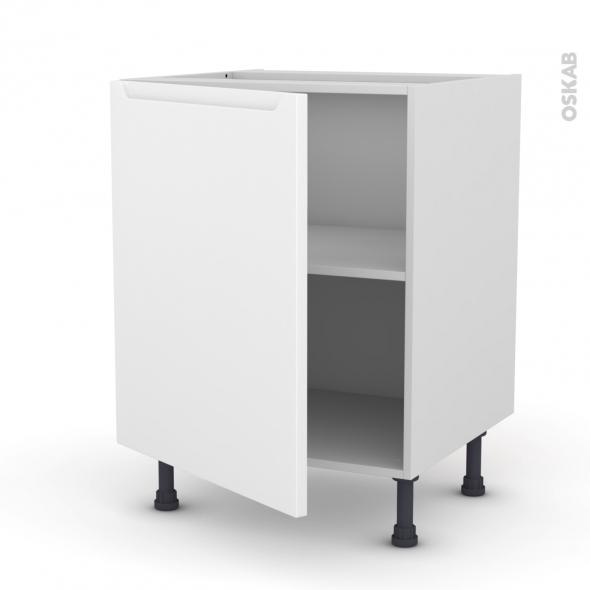 Meuble de cuisine - Bas - PIMA Blanc - 1 porte - L60 x H70 x P58 cm