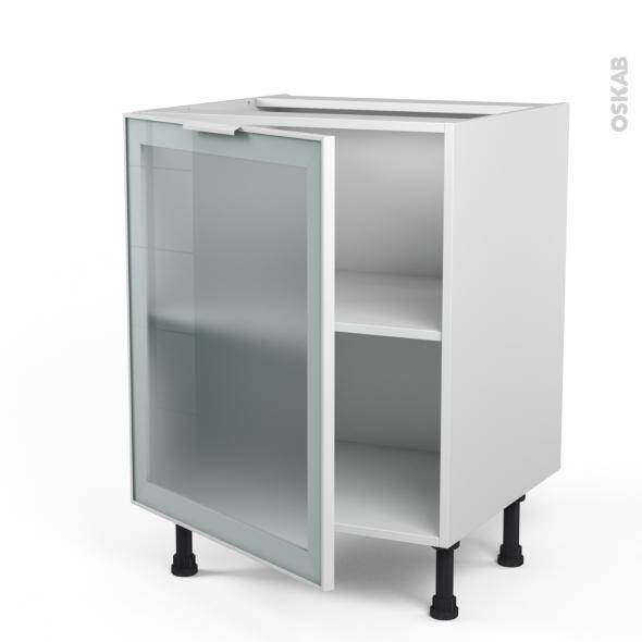 Meuble de cuisine - Bas vitré - Façade blanche alu - 1 porte - L60 x H70 x P58 cm - SOKLEO
