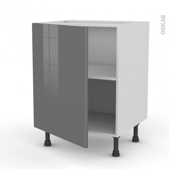 Meuble de cuisine - Bas - STECIA Gris - 1 porte - L60 x H70 x P58 cm
