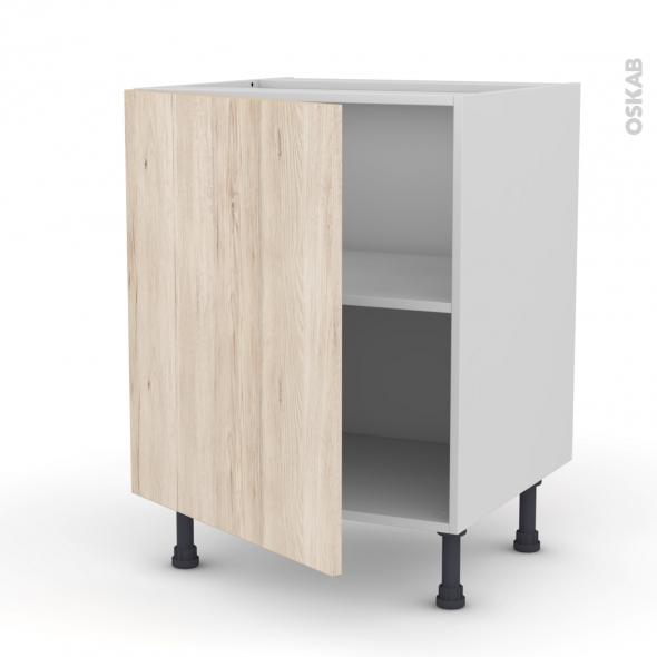 Meuble de cuisine - Bas - IKORO Chêne clair - 1 porte - L60 x H70 x P58 cm