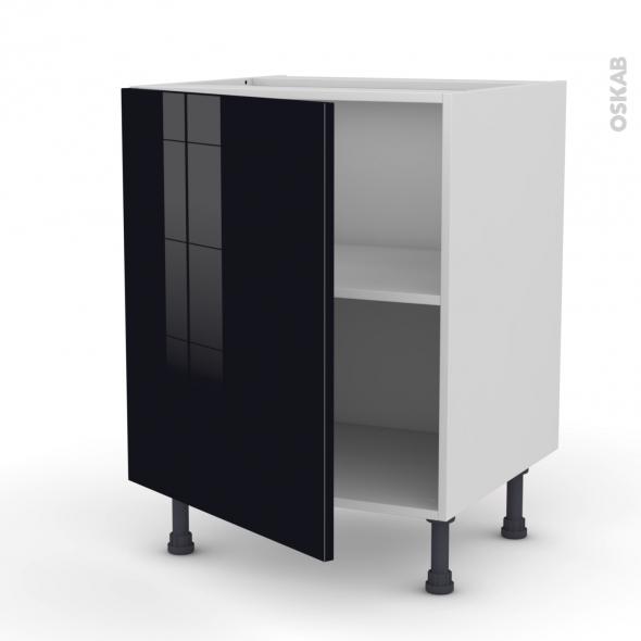 Meuble de cuisine - Bas - KERIA Noir - 1 porte - L60 x H70 x P58 cm