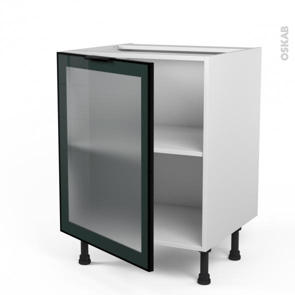 SOKLEO - Meuble bas cuisine  - Façade noire alu vitrée - 1 porte - L60xH70xP58