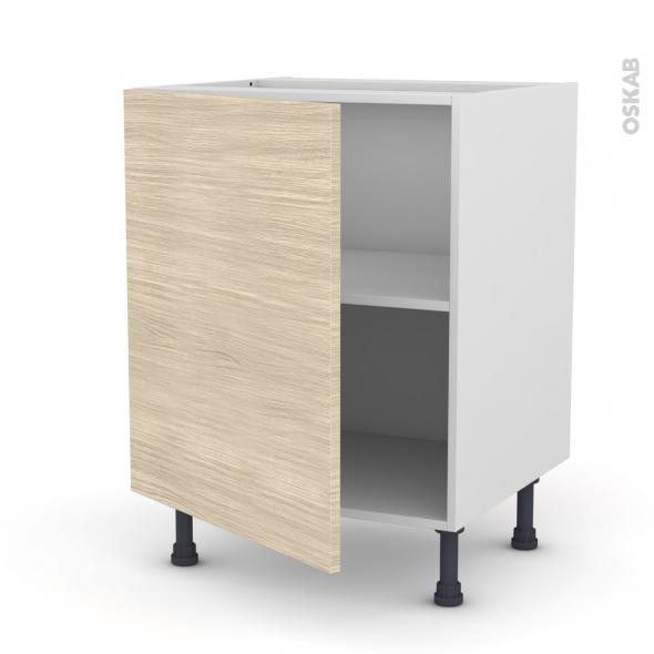 Meuble de cuisine - Bas - STILO Noyer Blanchi - 1 porte - L60 x H70 x P58 cm