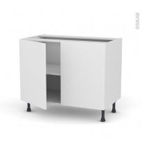 Meuble de cuisine - Bas - GINKO Blanc - 2 portes - L100 x H70 x P58 cm
