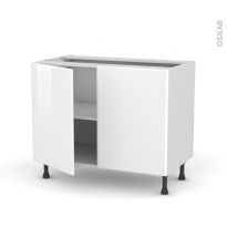 IRIS Blanc - Meuble bas cuisine  - 2 portes - L100xH70xP58
