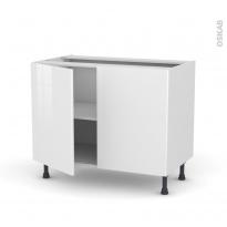 Meuble de cuisine - Bas - STECIA Blanc - 2 portes - L100 x H70 x P58 cm