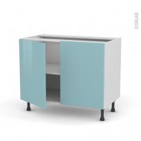 KERIA Bleu - Meuble bas cuisine  - 2 portes - L100xH70xP58