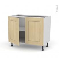 BASILIT Bois Vernis - Meuble bas cuisine  - 2 portes - L100xH70xP58