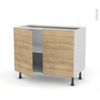 Meuble de cuisine - Bas - HOSTA Chêne naturel - 2 portes - L100 x H70 x P58 cm
