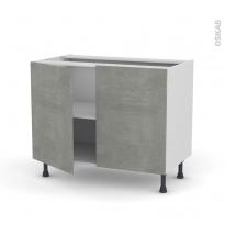 Meuble de cuisine - Bas - FAKTO Béton - 2 portes - L100 x H70 x P58 cm
