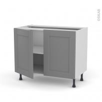 Meuble de cuisine - Bas - FILIPEN Gris - 2 portes - L100 x H70 x P58 cm