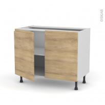 Meuble de cuisine - Bas - IPOMA Chêne naturel - 2 portes - L100 x H70 x P58 cm