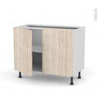 IKORO Chêne clair - Meuble bas cuisine  - 2 portes - L100xH70xP58