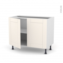 Meuble de cuisine - Bas - FILIPEN Ivoire - 2 portes - L100 x H70 x P58 cm