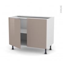Meuble de cuisine - Bas - KERIA Moka - 2 portes - L100 x H70 x P58 cm