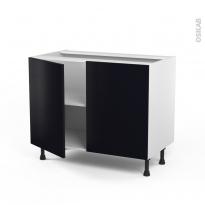 Meuble de cuisine - Bas - GINKO Noir - 2 portes - L100 x H70 x P58 cm