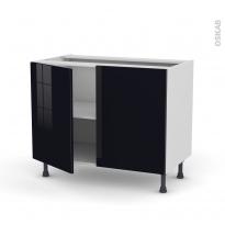 Meuble de cuisine - Bas - KERIA Noir - 2 portes - L100 x H70 x P58 cm