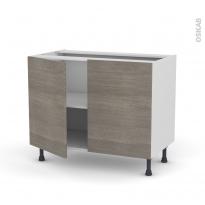 Meuble de cuisine - Bas - STILO Noyer Naturel - 2 portes - L100 x H70 x P58 cm