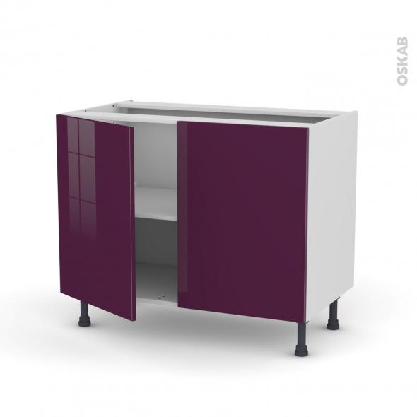 Meuble de cuisine - Bas - KERIA Aubergine - 2 portes - L100 x H70 x P58 cm